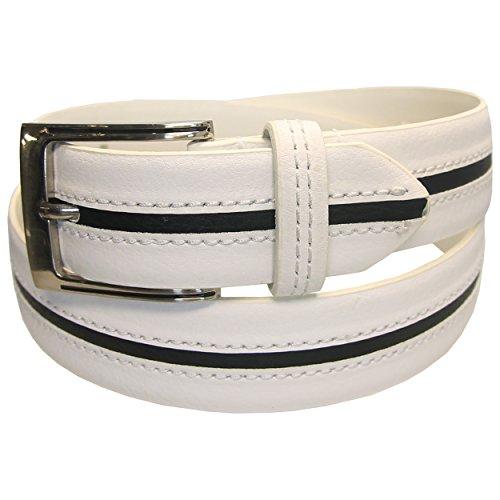 PGA TOUR Center Stripe Men's Leather Belt - 102 WHITE/BLACK - SIZE 42