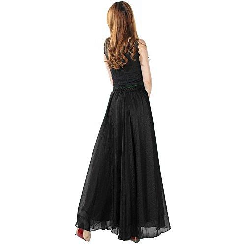 ZAFUL Mujer Falda Larga de Flamenco Vestido Boho de Playa Falda Maxi Tul de Noche Fiesta Boda Elegante Vestidos de Plisadas Grande Gasa Colores M L Negro