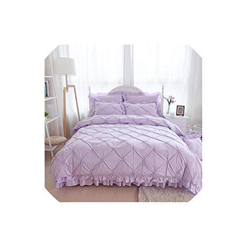 Pocket shop 4/6Pcs Hand-Made Princess Quilt/Duvet Cover Wedding 100% Cotton Ruffles Bedspread Bed Skirts Bedclothes Bedding Sets Beige/Blue,Purple,King Size 4 Pcs