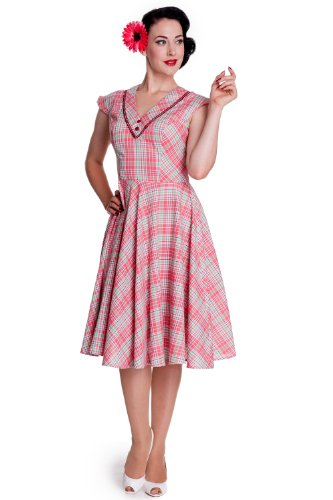 Hell Bunny 50s Rockabilly Swing Pin up Tattoo Vintage Retro Plaid Carol Dress (XL) (50s Tattoos)