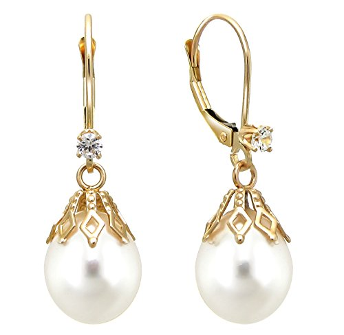 14k Yellow Gold 1/10cttw diamond 9-9.5mm White Freshwater Cultured Pearl Bell Lever-back Earrings