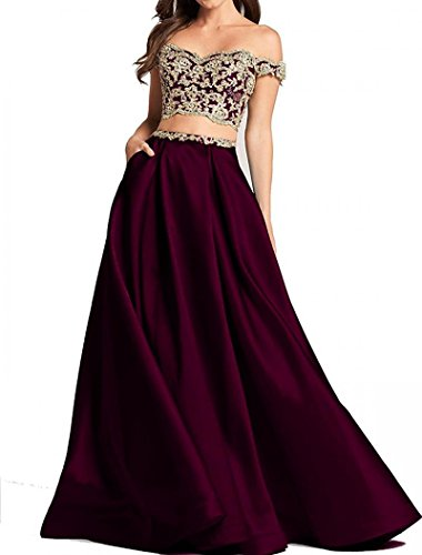 86dd327211 Dannifore Grape 2 Pieces Lace Bodice Prom Dresses Long Off Shoulder Satin  Evening Ball Gown