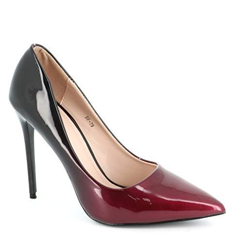 11cm Bordeaux Sexy Talon Vernis Fin Tendance Dégradées Chaussure Escarpin Haut Multicolore Chic Aiguille Femme ATxzOUq