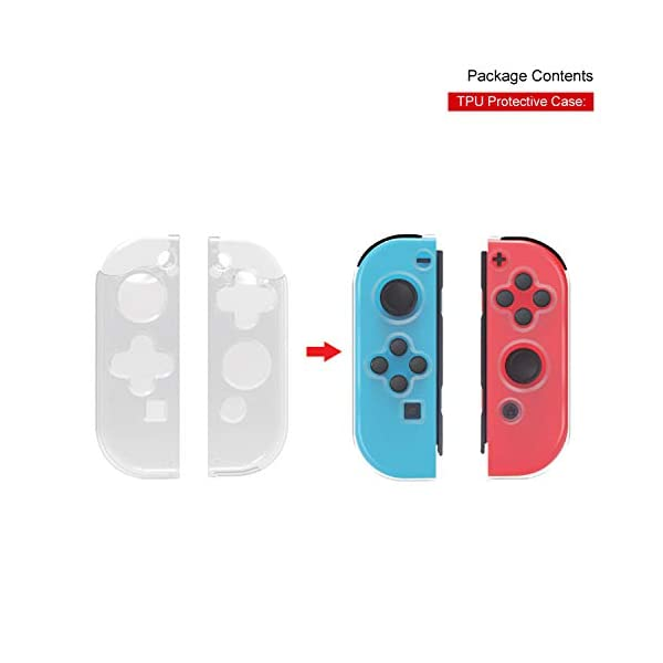 Nintendo Switch Accessories Bundle, Playstand, Joy con Charging Dock, TPU Protective Case, 2 Pair Thumb Grips and Charging Cable. 5