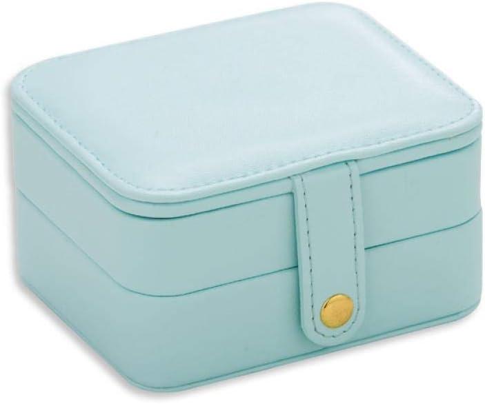 Pequeño joyero, Caja de Almacenamiento de Joyas de Viaje de múltiples Capas, Bolso de Almacenamiento de aretes de Cuero de joyería portátil, Azul Claro