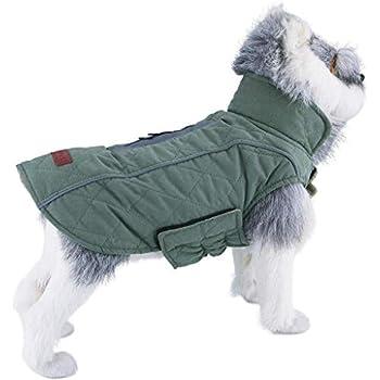 ThinkPet Warm Reversible Dog Coat - Thick Padded Comfortable Winter Dog Jacket, Reflective Safey Dog Vest M Green