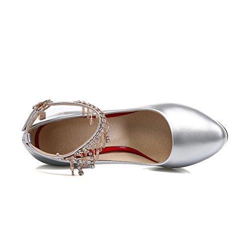 AdeeSu Womens Platform Patent Leather Round-Toe Grommets Urethane Pumps Shoes SDC03771 Silver OqVcVV