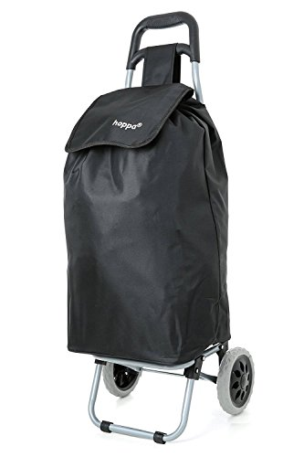 Hoppa 47L Lightweight Shopping Trolley, Hard Wearing & Foldaway for Easy Storage with 3 Years Guarantee (Black Plain)