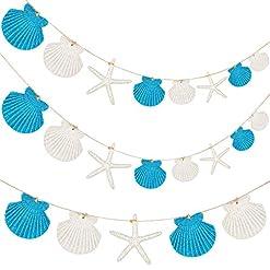 Beach Themed Christmas Ornaments Jetec 2 Pieces Starfish Sea Shell Beach Garland Scallop Shell Christmas Garland Resin Starfish Glitter Powder Hanging… beach themed christmas ornaments