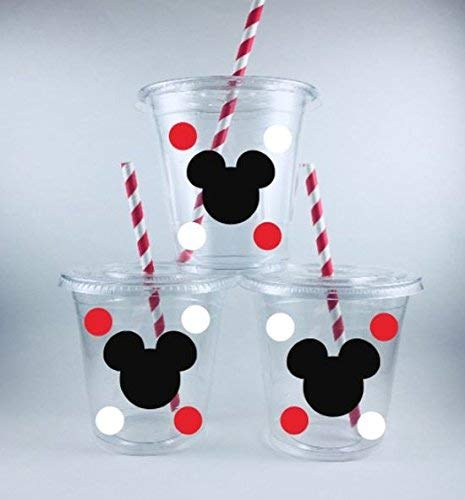 Mickey Mouse Party Cups Birthday Set of 12 With Lids Straws]()
