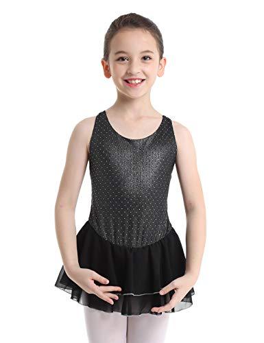 YiZYiF Girls Chiffon Wrap Skirted Leotard Dress Sparkling Figure Skating Gymnastics Dance Costume Black 7-8