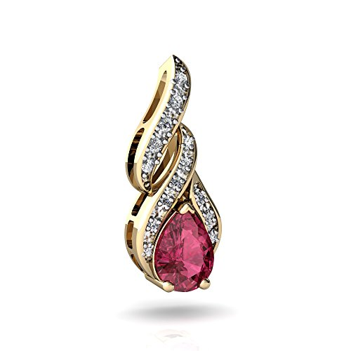 (14kt Yellow Gold Pink Tourmaline and Diamond 7x5mm Pear Flame Pendant)