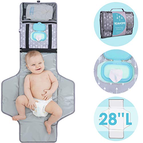 Portable Baby Diaper Changing Pad - YEAHOME Waterproof Travel Changing Table Pad for Newborn, Extended Cushioned Changing Mat with Head Pillow & Baby Stuff Pockets, Idea Registry Gift for Boy/Girl