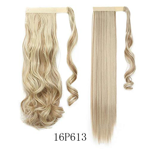 17''23'' Long Wavy Clip In Hair Tail False Hair Ponytail Hairpiece With Hairpins Synthetic Hair PonyTail Hair Extension 16P613 Straight-23inch