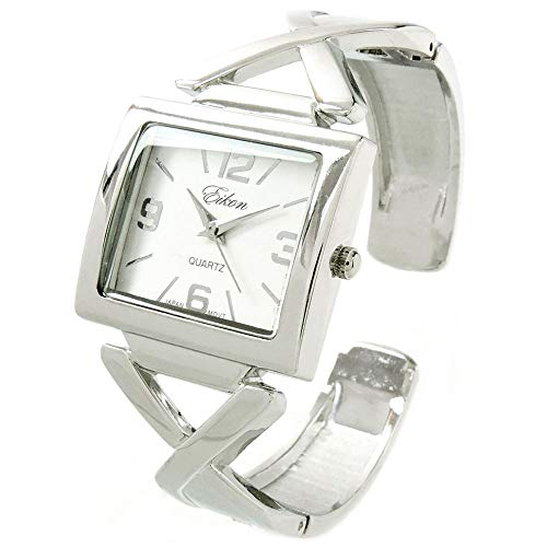 - Silver Square Large Dial Women's Bangle Cuff Watch