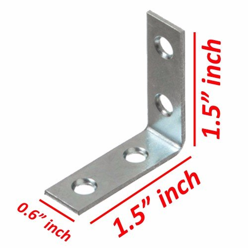 Wideskall 1.5'' inch Corner Brace Angle Repair Bracket w/ Screws (Pack of 50)