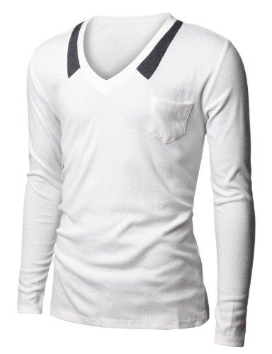 Doublju Mens V-neck T-shrits with Chest Pocket WHITE (US-M)