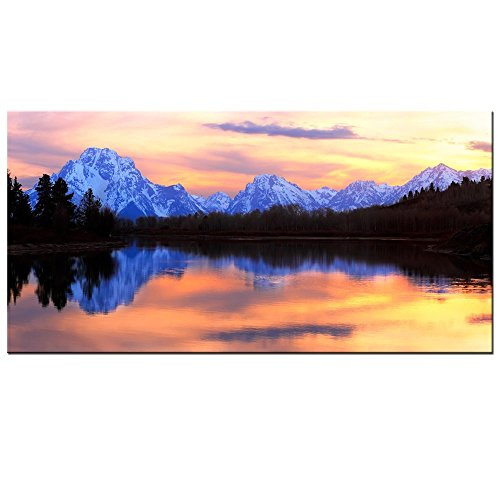 Live Art Decor - Grand Teton National Park Landscape Canvas Wall Art,The Tetons Reflecting in The Snake River at Oxbow Bend Canvas Print,Home and Living Room Decor,Wyoming Scenery Wall Art -24
