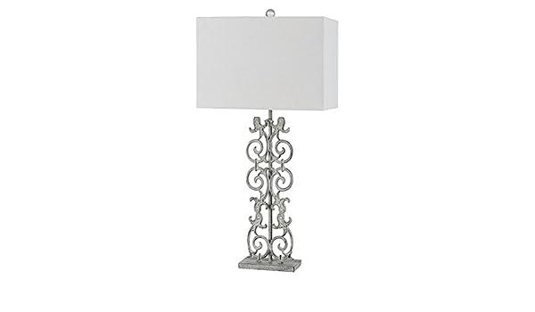 150W 3 Way Vitoria Cast Iron Table Lamp with Hardback Fabric ...