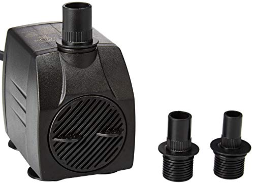 Instapark 400GPH UL Safety Certified Submersible Pump 25W 110V AC Fountain Water Pump with 5.9ft Power Cord, 3 Nozzles for Aquarium, Fish Tank, Pond, Statuary, - Submersible Fountain Ul Pump