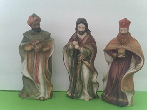 - Ceramic Nativity Figure Set Includes: Camel Lamb Donkey 3 Kings Wisemen Baby Jesus in Cradle Mary & Joseph Angel Shepherd 11 Loose Pieces No Retail Package