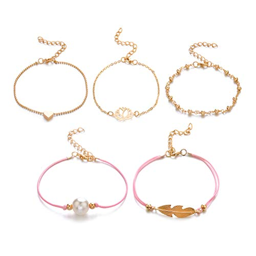 TENDYCOCO Gold Chain Bracelet for Women Assorted Style Heart Leaf Girls Birthday Gifts ()