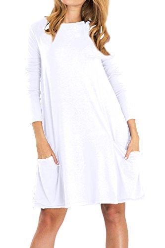 Plaine Balançoire Lâche Longues Poches Femme Manches Yming T-shirt Blanc Robe