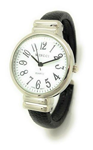White Leather Cuff Watch - Ladies Snakeskin Leather Bangle Cuff Watch Round Case White Dial Wincci (Black)