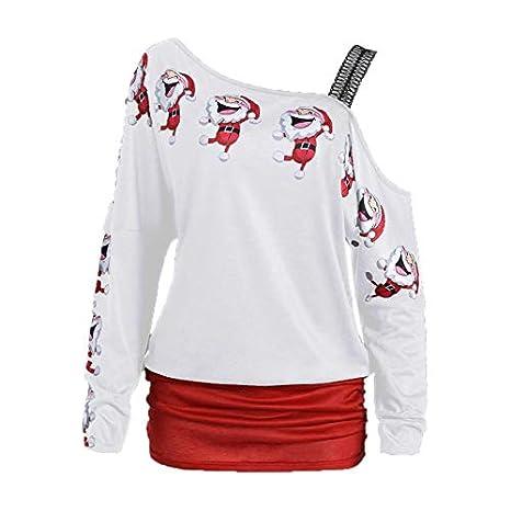 Jinliluccky Blusa de Las Mujeres Señoras Navidad Navidad Papá Noel Imprimir de Manga Larga T Shirt Sexy Casual Hombro Tops más tamaño Sudadera: Amazon.es: ...