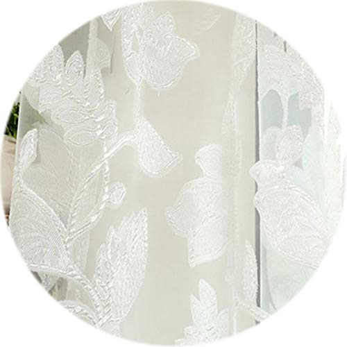 No Buy No Bye Tulle Curtains Floral Design Window Treatments White Fabrics Jacquard Kitchen Door Curtains Sheer Panel Transparent,White,W150cm L270cm,1 Rod - System Rods Transparent 96