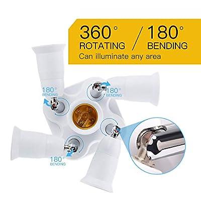 JACKYLED 5 in 1 Light Socket Splitter E26 E27 Adapter Converter for Standard LED Bulbs 360 Degrees Adjustable 180 Degree Bendable Max Watt 300W