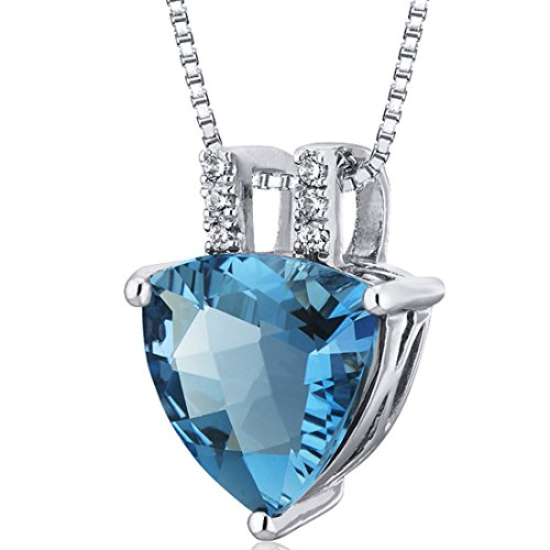 Elegant 2.75 carats Trillion Checkerboard Cut Sterling Silver Rhodium Finish London Blue Topaz Pendant