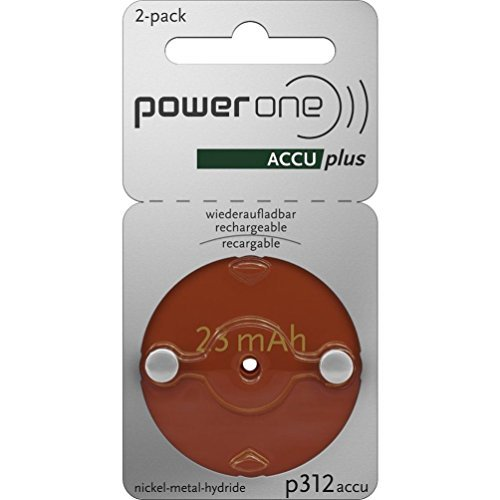 2 x Size p312 PowerOne ACCU Plus Rechargeable Hearing Aid Batteries