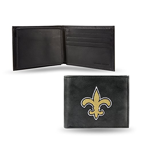 NFL New Orleans Saints Embroidered Leather Billfold Wallet