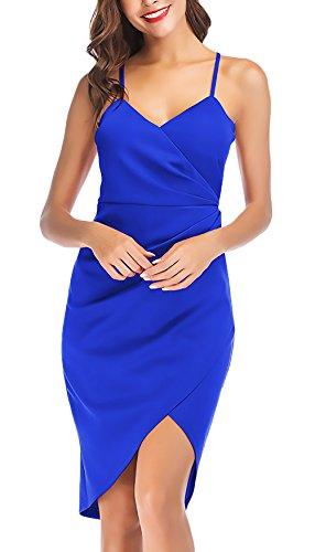 Color Descubierta Vestido Falda Fashion Irregular Basic Dama Cortos Tirantes Azul Mujer V Verano Party Tirantes Vestidos Ropa Ropa Espalda Cuello Sólido IqF1wFC