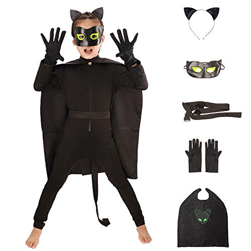 Kids' Ladybug and Cat Noir Costume Children's Cosplay Jumpsuits with Superhero Capes,Cat Ears Headband and Mask 6pcs (Black, L) ()