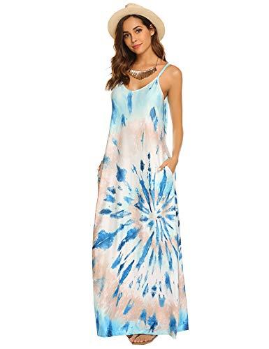 Women Loose Tie Dye Print Maxi Long Dress with Pocket(Z-Blue,S) ()