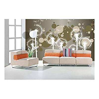 Incredible Craft, Crafted to Perfection, Fun Cute White Dandelions on a Brown and Silver Gradient Neutral Bokeh Background Wall Mural