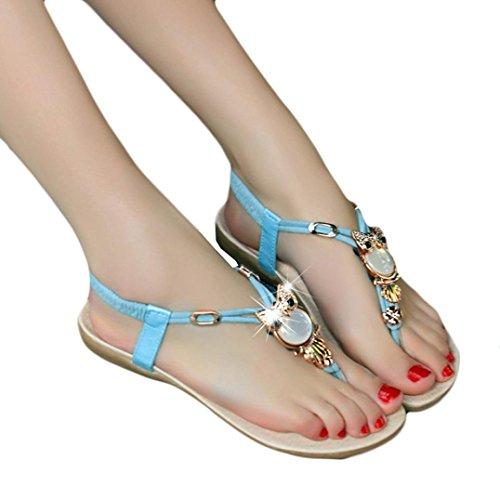 Fullkang Women Cute Rhinestone Owl Sweet Sandals Clip Toe Beach Sandals Blue Y3fxUHGQS