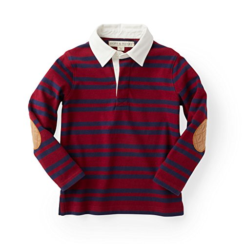Hope & Henry Boys' Red and Blue Striped Long Sleeve Rugby ()