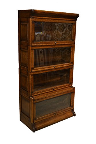 Crafters and Weavers Mission Oak 4 Stack Barrister Bookcase Made of Solid Oak Glass Stacking Bookcase