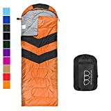 Sleeping Bag - Sleeping Bag for Indoor & Outdoor Use - Great for Kids, Boys, Girls, Teens & Adults. Ultralight and Compact Bags for Sleepover, Backpacking & Camping (Orange / Black - Right Zipper)
