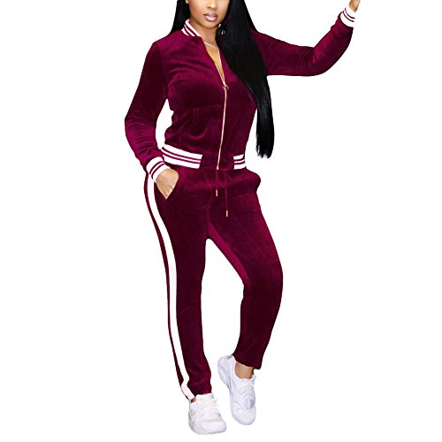 Joseph Costume Womens Two Piece Outfits Velvet Long Sleeve Zip up Jacket Pants Set Tracksuit Sweatsuit Activewear