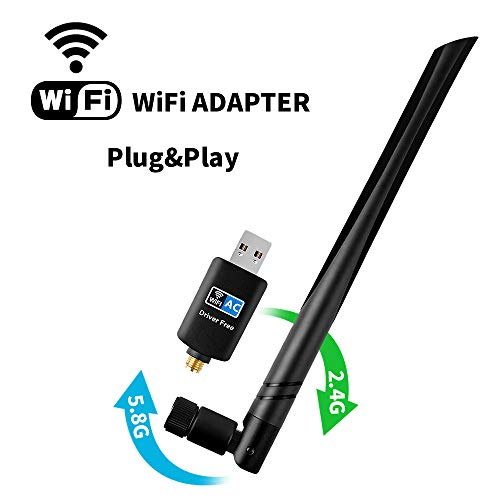 (WiFi Adapter 600mbps,Techkey Wireless USB Adapter Dual Band 2.4GHz/5.8GHz LAN Card 802.11ac Network Card for Desktop Laptop PC Support Windows 10/8.1/8 / 7 / XP/Vista/Mac OS 10.6-10.14)