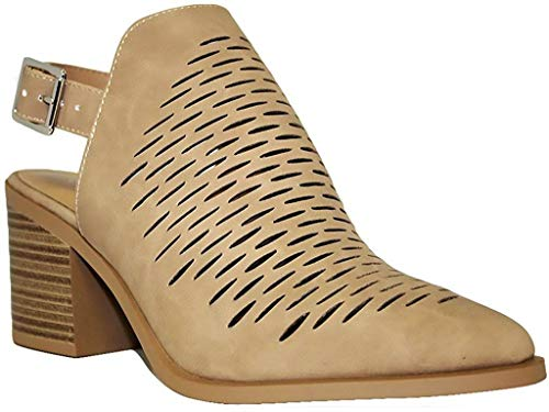 (City Classified Women's Western Laser Cutout Caged Pointy Toe Ankle Bootie (6.5 B(M) US, Camel)