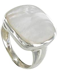 Ring Sterling Silver Paved Square with Mother of Pearl