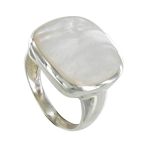 Les Poulettes Jewels - Ring Sterling Silver Paved Square with Mother of Pearl - size 9.5