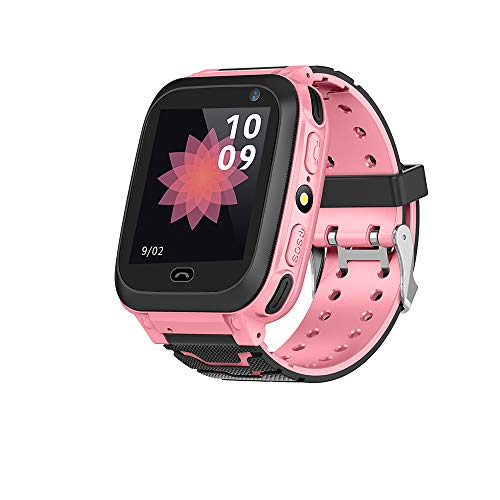 Huangou Kid Smart Watch GPS Tracker - IP67 Waterproof Fitness Tracker Watch Phone with SIM SOS Camera Anti-Lost Game Pedometer Digital Wrist Summer Outdoor Prime Deals Gift Watch iOS/Android (Pink) -