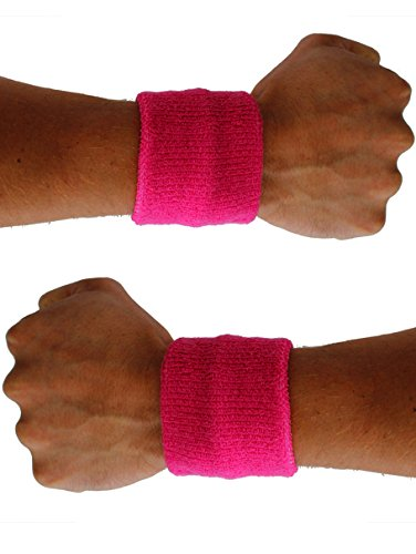 Extreme 80s Neon Pink SweatBand Unisex Adult