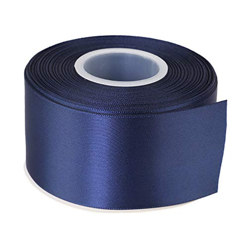 ITIsparkle 2 Inch Double Faced Satin Ribbon 25 Yards-Roll Set for Gift Wrapping Party Favor Hair Braids Baby Shower Decoration Craft Supplies, Navy Blue